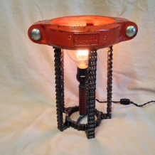 Orange Pipe Clamp Lamp