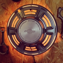 Chevy Hubcap Wall Sconce