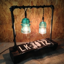Vintage Texas Plate Lamp w/Glass Insulators
